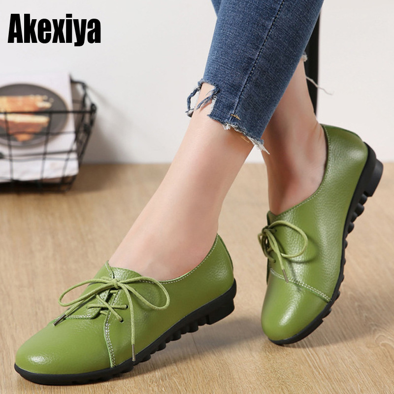 Genuine Leather Oxford Shoes For Women Round Toe Lace-Up Casual Shoes Spring And Autumn Flat Loafers Shoes f013