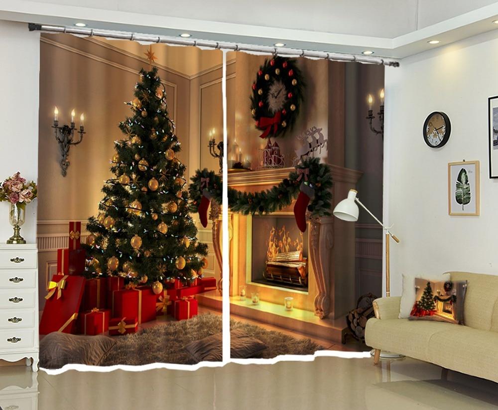 Joli intérieur décoration de noël haute précision ombre 3D rideau pour salon ou hôtel rideaux Cortians
