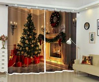 Pretty Interior Christmas Decoration High precision Shade 3D Curtain for Living Room or Hotel Drapes Cortians