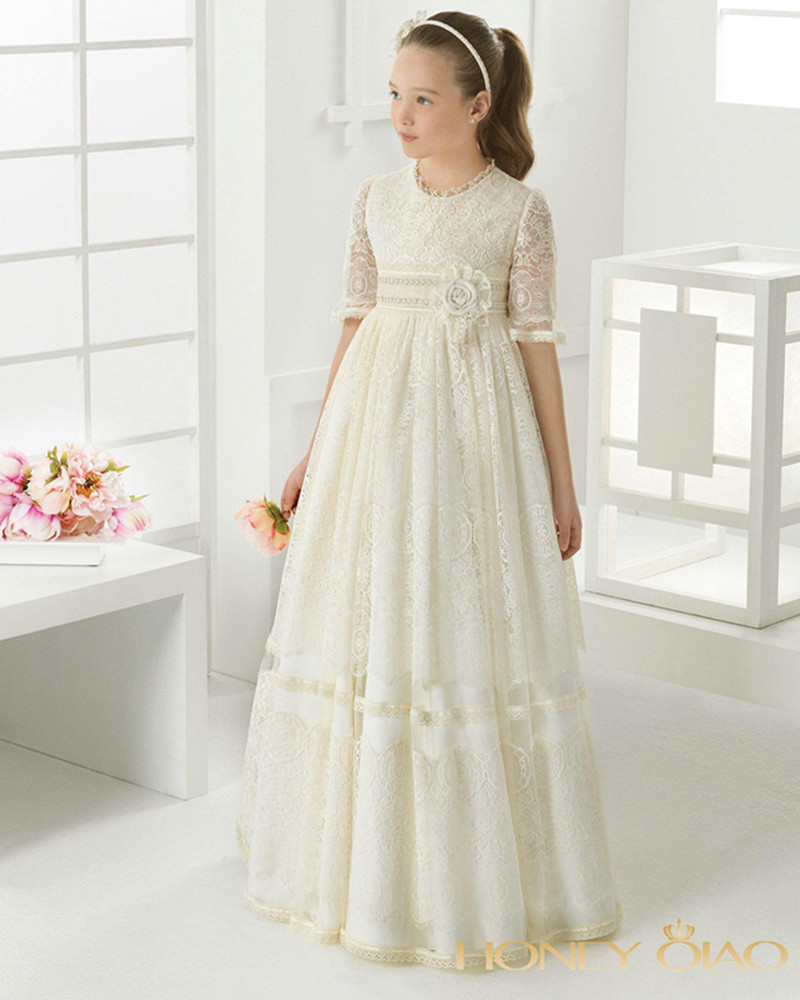 New for Girls First Communion Dresses White Ivory Lace Flower Girl Dresses Holy Pageant Gowns For Girls Faithfully Custom new white ivory flower girl dresses for wedding 3d flowers puffy tulle with big bow girls first communion gowns