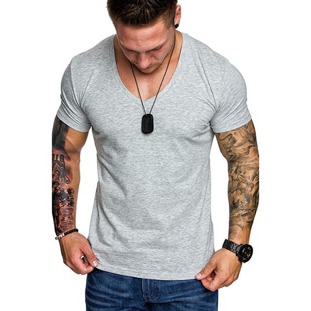 Drop Shipping 2019 New Summer Mens T-shirt Solid Slim Fit Short Sleeve T Shirt Men Casual V-Neck T-Shirts Streetwear