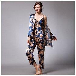 Moederschap 3 Stuks Nachtkleding Satijn Pyjama voor Vrouwen Elegante Vrouwelijke Sexy Kant In Alle Seizoenen Zijden Pyjama Set Jas + vest + Broek