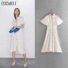 COZARII 2019 summer dress women vestidos casual style striped turn-down collar short sleeve long de fiesta party