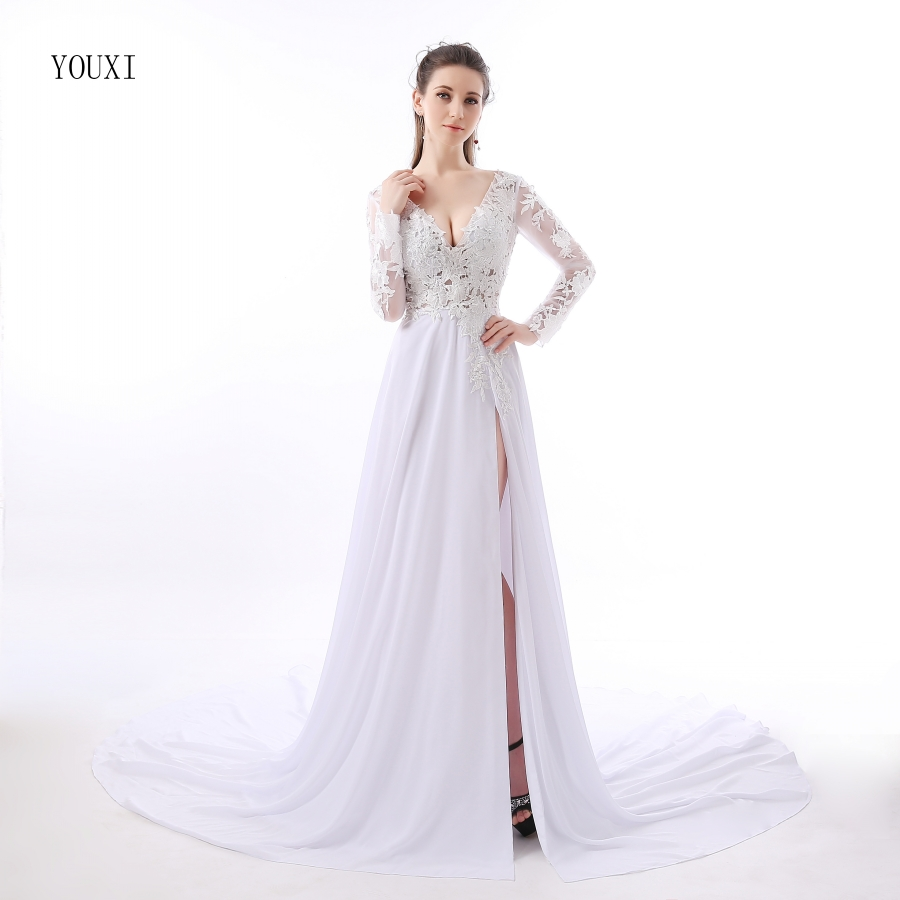 2017 Abendkleider Lang Sexy Lace Prom Dresses Sheer Plunging ...