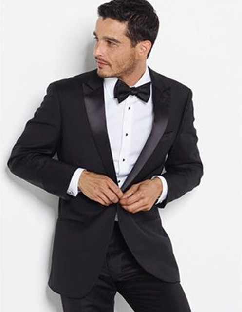 men bridegroom suits wedding groom wear black dinner tuxedo slim ...