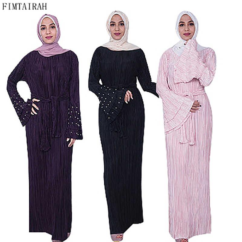 ba73c8dba42c Muslim Women Pleated Maxi Dress Crinkle Sewed Pearl Stretch Abaya Long  Cocktail Kaftan Gown Arab Women