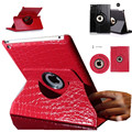 Case cover For apple iPad Air 2 iPad6 360 Degree Rotating crocodile style flip pu Leather Tablet Case Stand Protective Cover+pen