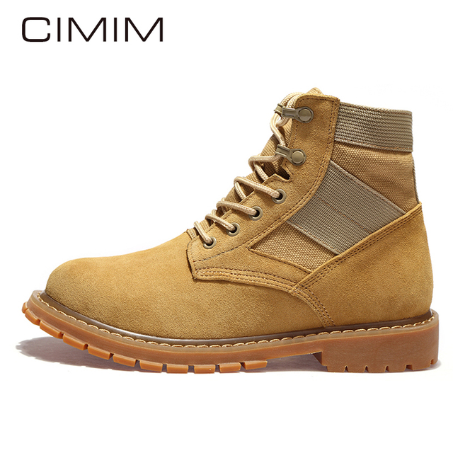 c3f0e6fc6 CIMIM Marca Botas Militares Hombres Moda Invierno Hombre Botines Vaca Suede  Zapatos de Invierno Para Hombre