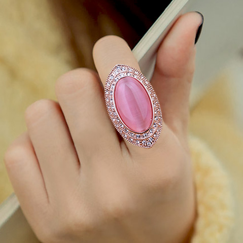 Fashion Exaggerated Big Pink Cateye Crystal Stone Ring Oval Pigeon eggs Ring Rose Gold Color Women Party Decorate Jewelry