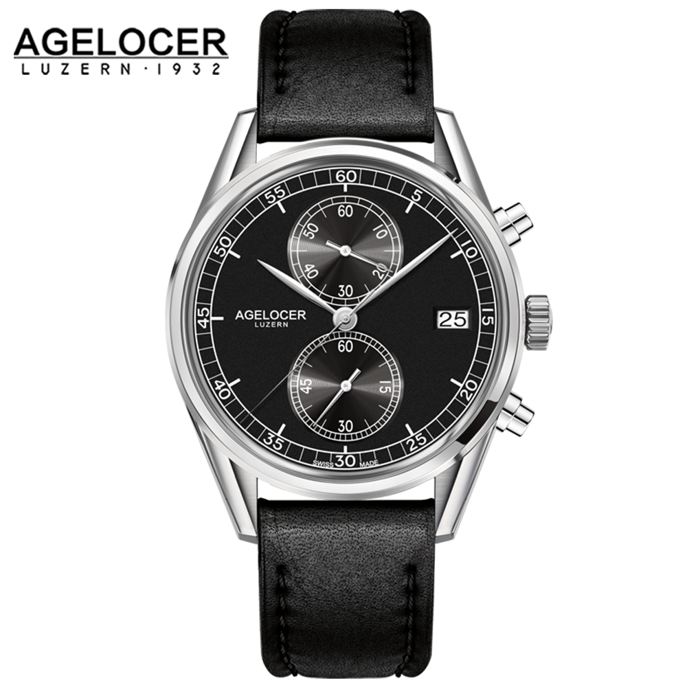 New Silver Bezel Back Leather Band Wrist Watch Mens Watches AGELCOER Brand Designers Quartz Watches 50m Waterproof lamps european style wall lamp bedside lamps simple creative north european style antique garden living room bedroom aisle light