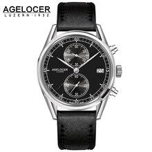 New Swiss made silver bezel back leather band wrist watch mens watches AGELCOER brand designers quartz