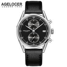 New Swiss made silver bezel back leather band wrist watch mens watches AGELCOER brand designers quartz watches 50m waterproof