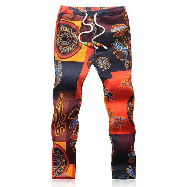 2017 Summer Designer Linen Pants Men Printing Casual Jogger Pants Boys(Asian Size M-5XL)
