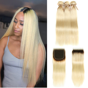Black Pearl Ombre Bundles With Closure Peruvian Straight Hair 4/613 Lace Closure 613 Blonde Bundles With Closure Blonde Bundles