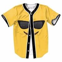 Emoji Sunglass Smile Sport Baseball Jerseys New Hip Hop Streetwear US Size Buttons Homme 3D Printing