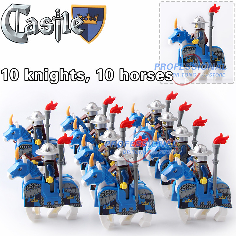 DR.TONG 20pcs/Lot Blue War Horse Cattle King Kingdom Medieval Castle Knights with Weapons Heavy Armor Building Blocks Diy Toys