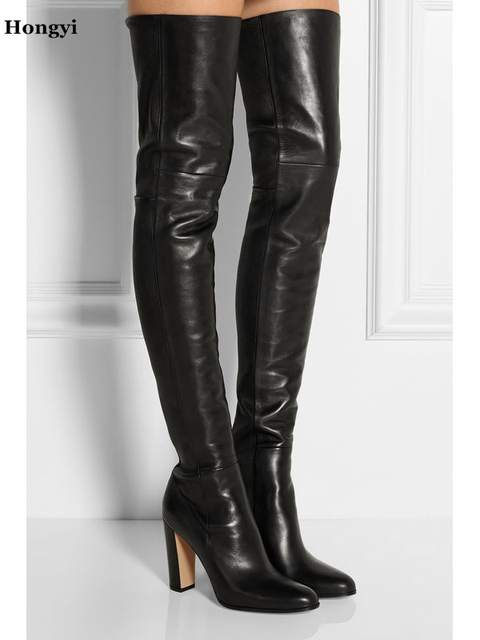 a18df300b2d Autumn Winter Newest Black Leather Boots Woman round toe over the knee  boots thick heels riding