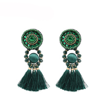 Vintage Tassel Earrings For Women Green Color Bohemia Long Big Earring Crystal Resin Statement Earing boucles d oreille femme strathspey green color tassel earrings for women vintage long pompom fringe earring bohemia beads earing jewelry