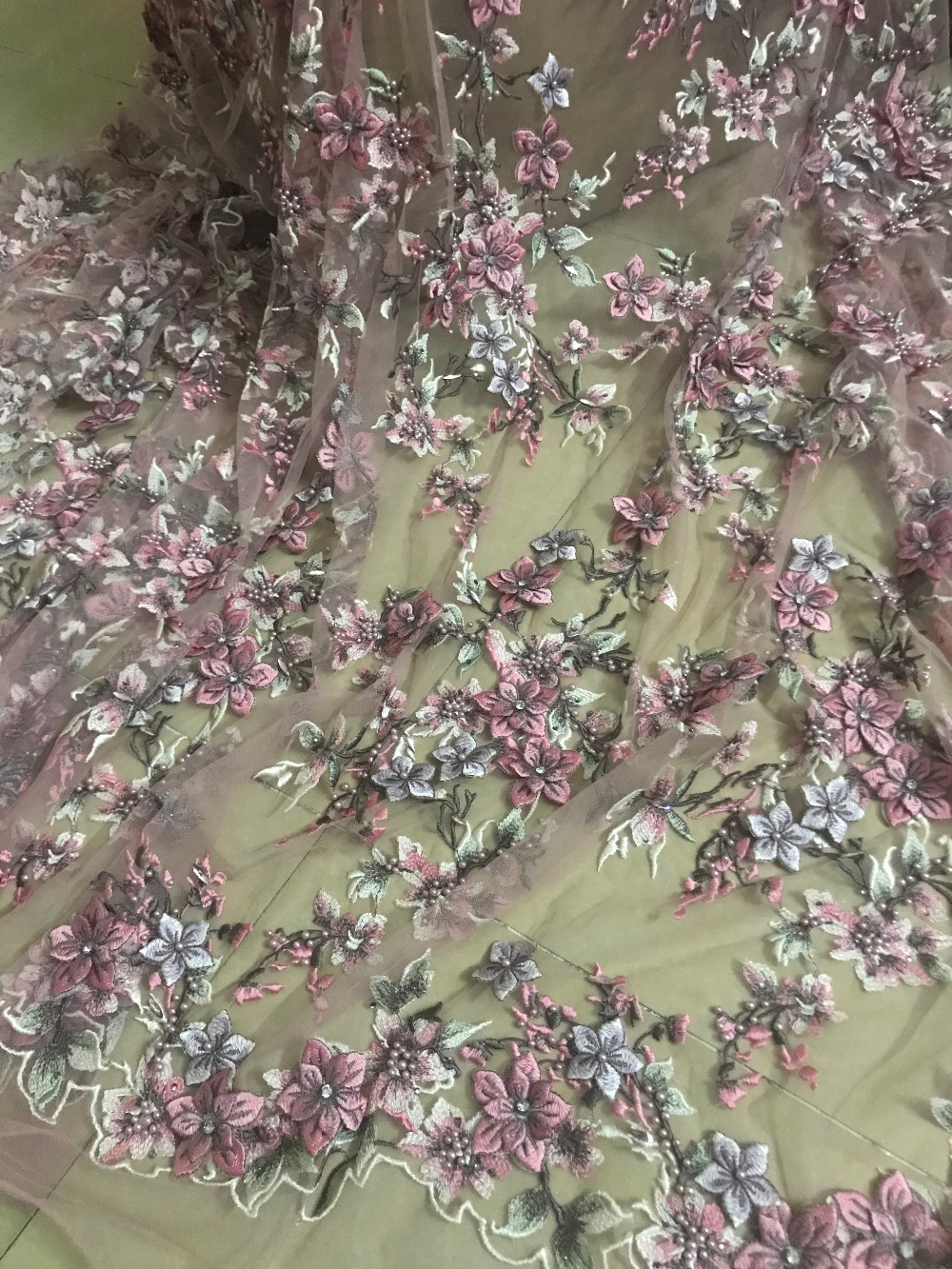 luxury ZH 32711 Nigerian Laces 3d flower High Quality Tulle Mesh French Embroidered Lace fabric
