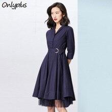 Onlyplus OL Office Women Dress Autumn Lace Hem Two layers Business Deep Blue Cotton Dress Slim