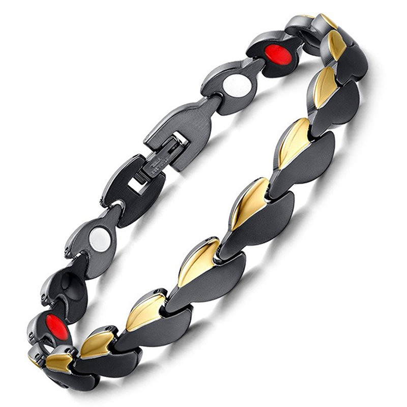 Drop Shipping 4IN1 Bio Elements Energy Bracelet Black & Gold Women's Healthy Bracelets & Bangles Magnetic Power Fashion Jewelry