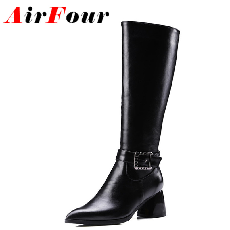 ФОТО Airfour Autumn&Winter Mid-Calf Boots Zipper Buckle Platform Shoes Pointed-Toe Square Heels Motorcycle Boots Large Size 34-43