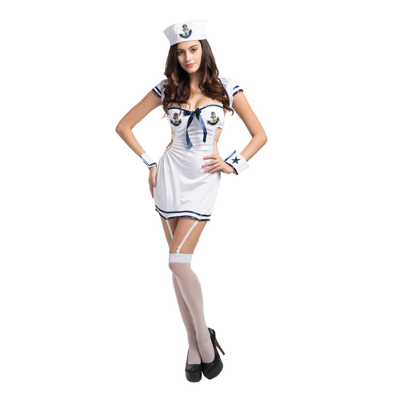 Adult Women Sexy Sailor Nevy Lingerie White Sailor Costume Erotic Fetish Sexy Nevy Officer Lingerie