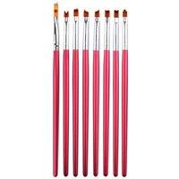 8 pcs/ensemble Nail Art Brush Kit Gradient Rouge Manche En Bois Sculpture Fleurs Forme UV Gel Polonais Conception Nail Dessin Peinture outils