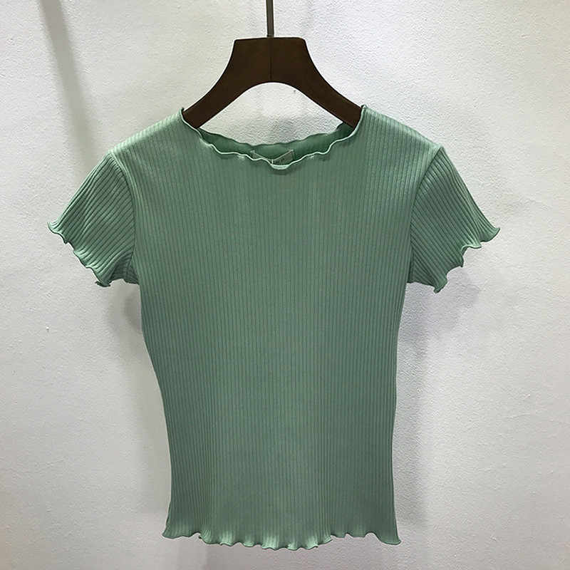 7670ea069 Women Tees ruffled Shirt Trimmings Ribbed Crop Tops Solid Fashion Short  Sleeve Soft And Stretchy Short