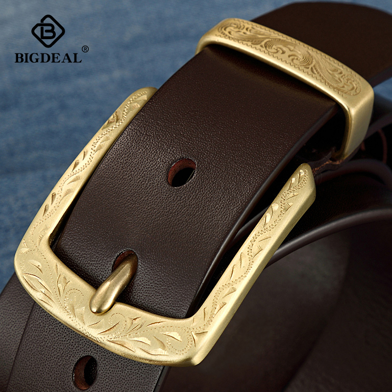 BIGDEAL Cow Genuine Leather Luxury Strap Male Belts For Men New Fashion Classice Vintage Pin Buckle Men Belt High Quality Copper