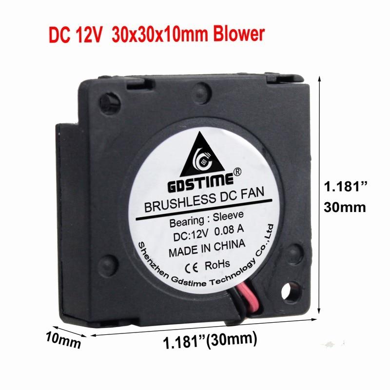 Gdstime 100 Pieces DC 12V 3cm 30x30x10mm 3D Printer Blower Fan 30mm x 10mm 3010 Laptop