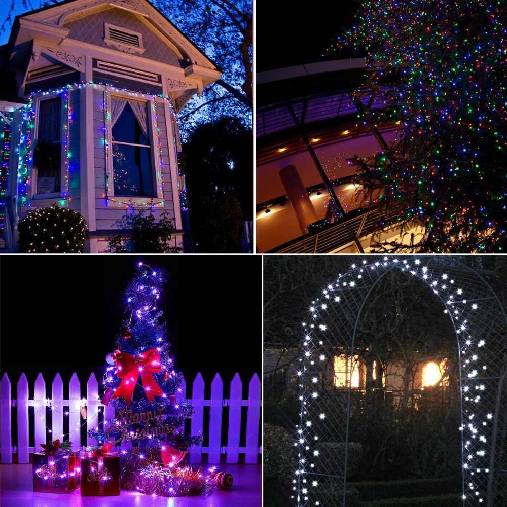 10m 12m Solar Charger Led Strip Light Rgb Copper Wire Tape Holiday String Lighting Outdoor Fairy Christmas Garden Decoration