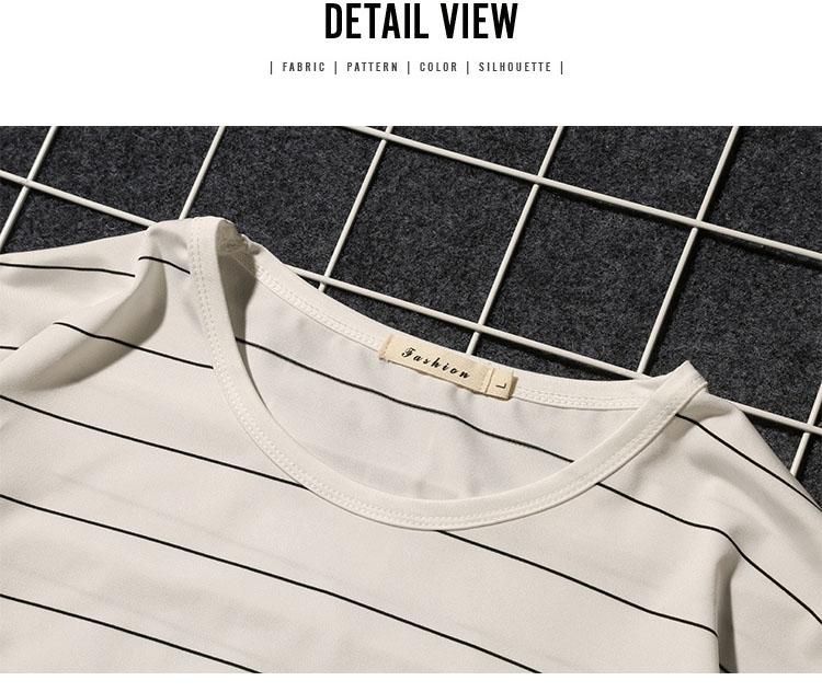 Summer T-shirt Men's Short-sleeved Fashionable Half-sleeved Round-collar Slim Men's Stripe Half-sleeved Clothes MW51 14