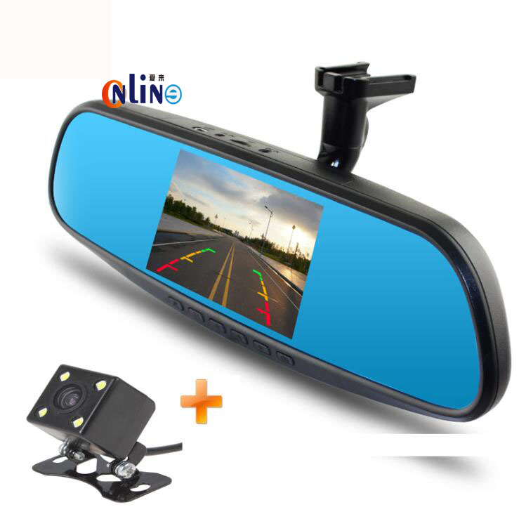 Dual Lens 1080P Car Bracket Blue Rearview Mirror Camera DVR Monitor Full HD Digital Video Recorder With Bracket Car Black Box 6000a 1080p 3 0mp 720p 1 3mp car dvr camcorder w 4 3 tft rearview mirror monitor black