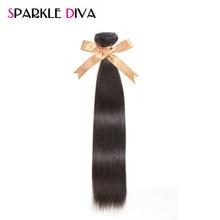 [SPARKLE DIVA HAIR] Brazilian Virgin Hair Straight 100% Human Hair Weave Bundles Unprocessed Hair Extensions Natural Color 1PC