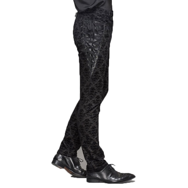 Gothic Punk Victorian Mens Pants Black Steampunk Fitness Casual Male Trousers Slimming Fitted Feet Pants Large Sizes S-XXXL 2