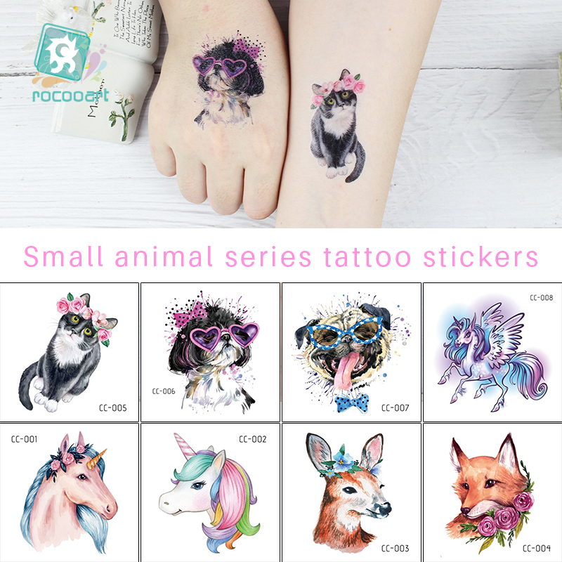 Rocooart Cartoon Animals Tattoo Small Fake Tattoo Unicorn Fox Temporary Tattoo Sticker For Body Art Children Flash Taty Tatoo