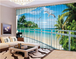 Customize buyer size Fashion 3D Home Decor Beautiful seabeach 3D Window Curtains For Bedding room