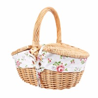 Willow Wicker Basket Storage Woven Strap Shelf With Liner And Lid Camping Picnic Basket