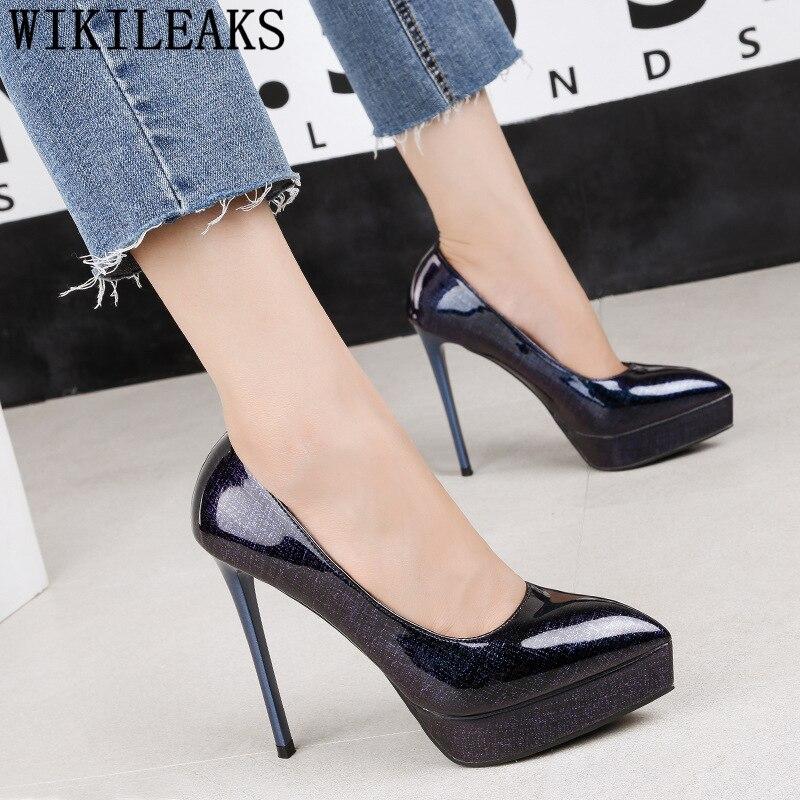 Bout Designers Femmes 2 Hauts 3 Talons Dames Pointu Tacones Pompes 4 Plate forme Cuir En 1 De Luxe Chaussures Verni 6wzqxEzCR