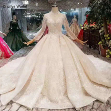 все цены на LS11254 elegant high neck wedding dresses champagne crystal long sleeves ball gown lace wedding gowns with long train for queens