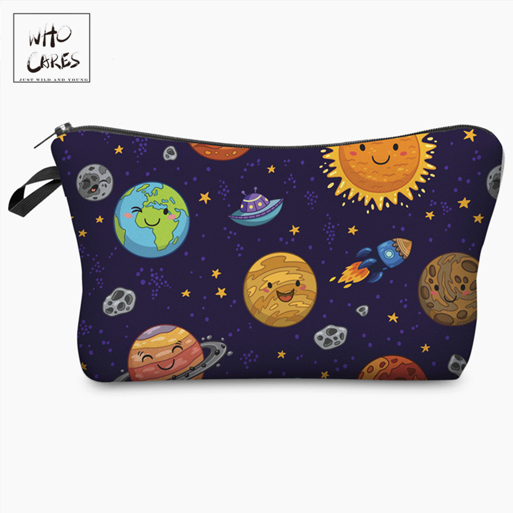 Who Cares Space Planet Funny Character Printing Cosmetic Organizer Bag Makeup Bags Ladies Pouch Women Cosmetic Bag