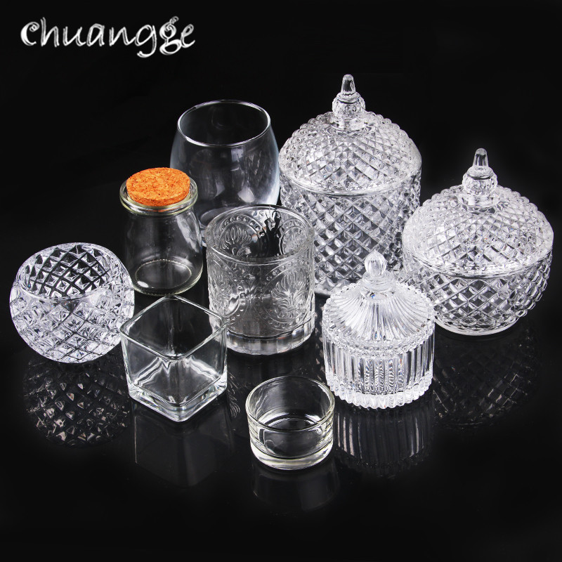 CHUANGGE DIY sveces kausa rokasgrāmata sveču vaska kauss stikla sveču turētājs konteiners mājās sveces izgatavošanas piederumi J