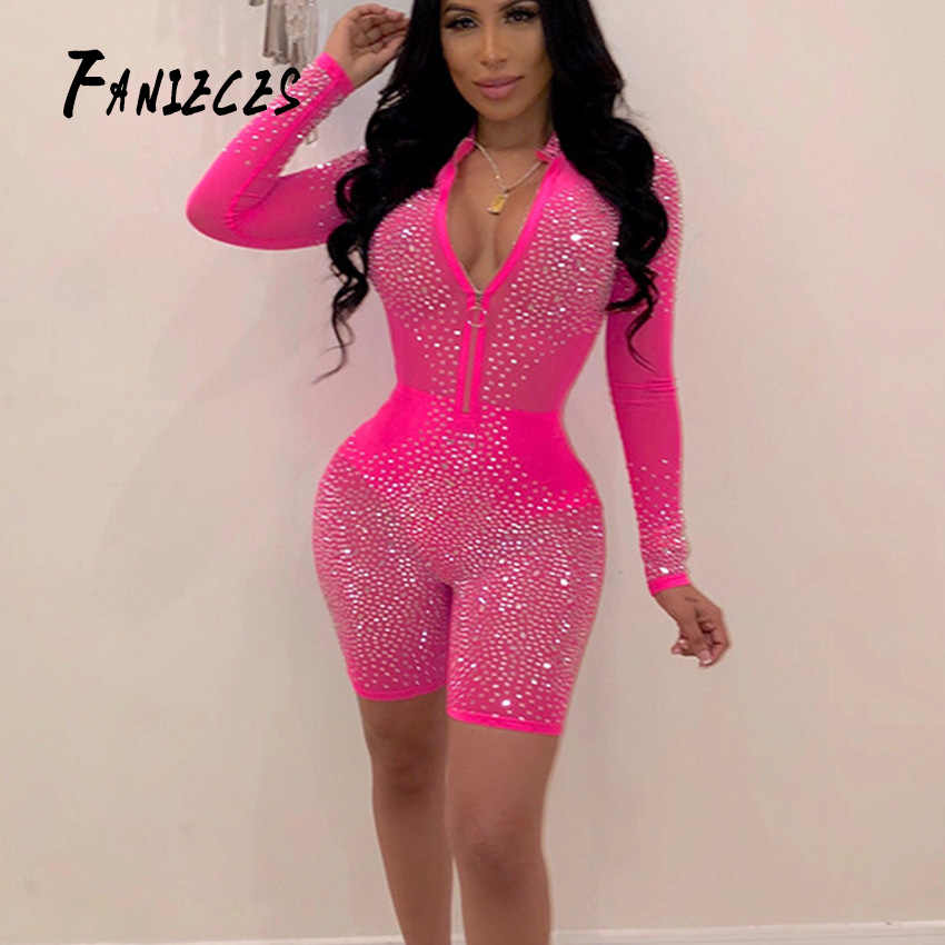 FANIECES Neon Pink Mesh Diamond Playsuit Women Long Sleeve Romper See Through Sexy Club Party Bodycon Mini Jumpsuit Dropshipping