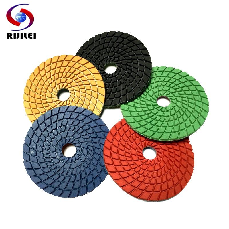 RIJILEI 10 Pieces/lot 4inch Flexible Diamond Polishing Pads 100mm Spiral Wet Polishing Pad Granite Marble Grinding Disc 4DS2