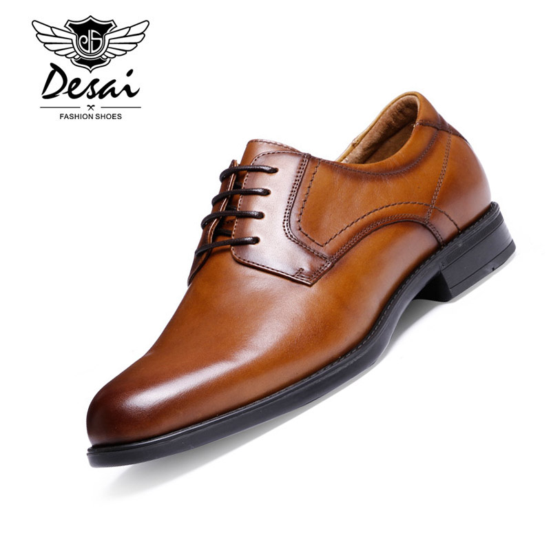 Men's Shoes Formal Shoes Desai Brand Men Shoes High Quality Genuine Leather Shoes Men Business Suits Luxury Male Leather Dress Men Shoes Size 38-43 Various Styles