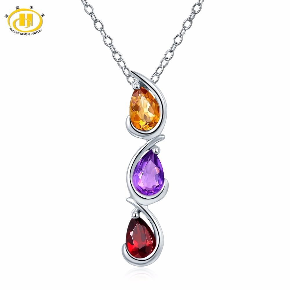Hutang 100% Natural Gemstone Pendant Citrine Garnet Amethyst Necklace 925 Silver Trendy Drop Design Jewelry for Women Great Gift