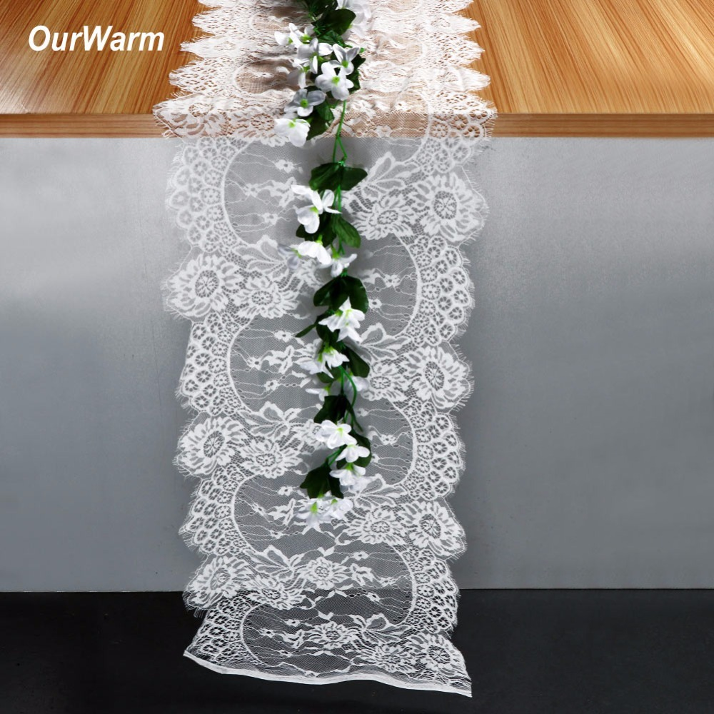OurWarm 35X300CM Wedding Table Runner White Lace Floral Cloth Boho Decoration Home Textile