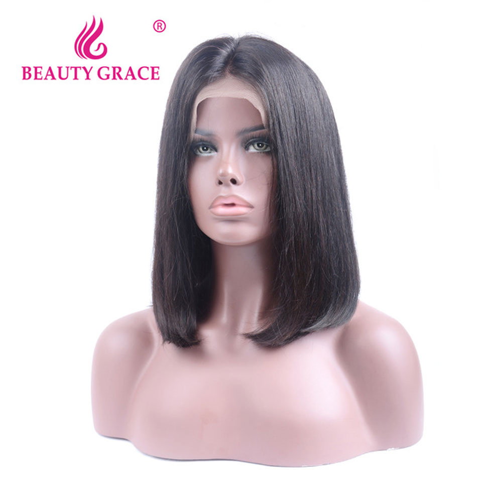 Beauty Grace Short Bob Wigs Lace Front Human Hair Wigs Bob Wigs For Black Women Non-Remy Peruvian Straight Bob Lace Front Wigs