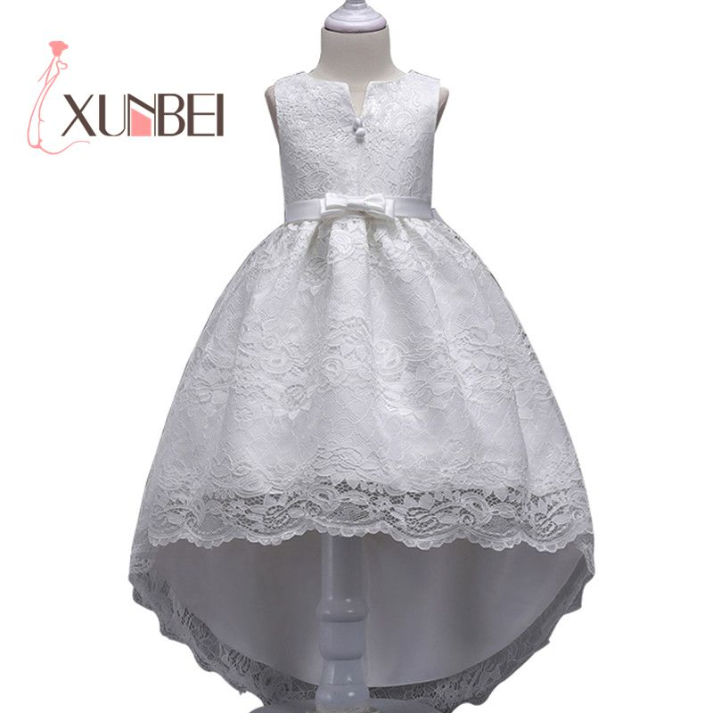 Knee Length   Girls   Lace   Dresses   2019 White   Flower     Girl     Dresses   Pageant   Dresses   First Communion   Dresses   Evening Gown